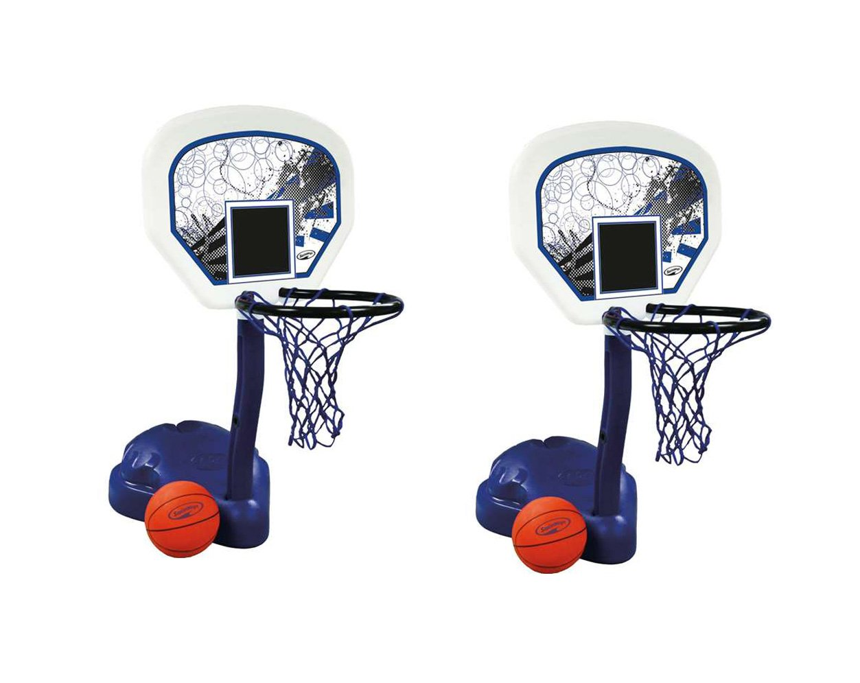 Pack of 2 - SwimWays Poolside Basketball Hoops Pool Water Game Set with Ball