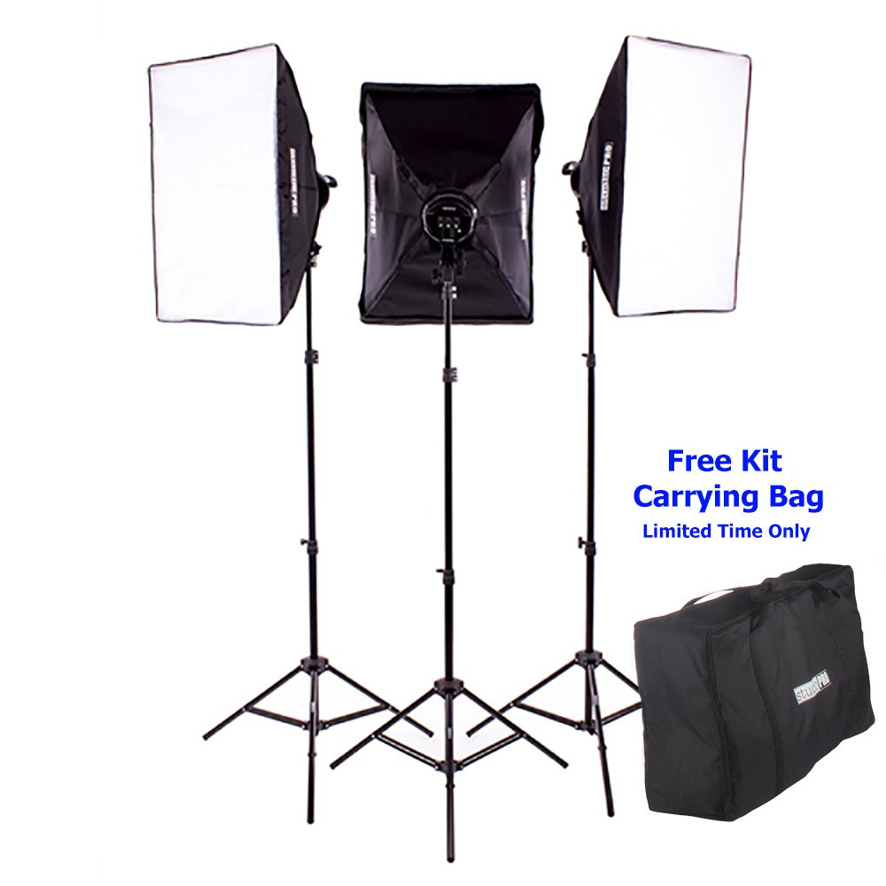 Fovitec - 3x 20''x28'' Softbox Continuous Lighting Kit - [Includes Stands, Softboxes, Socket Heads, 15x 45W Bulbs][Continuous Lighting][45W Bulbs]