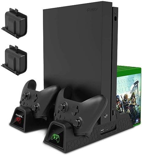 Yangers Soporte Vertical del Ventilador de Enfriamiento, Estación de acoplamiento del cargador del controlador, 2 Baterías recargables, Organizador de juegos de 12 ranuras para Xbox One /S/X Console: Amazon.es: Videojuegos
