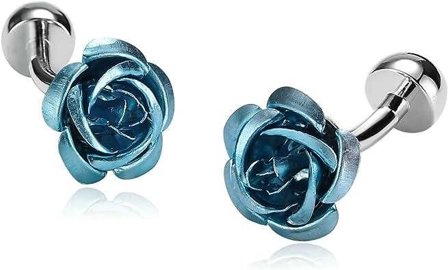 Daesar Gemelos de Acero Inoxidable Gemelos de Hombre Gemelos Camisa Gemelos Flor de Rosa Gemelos Azul Gemelos para Hombre: Amazon.es: Joyería
