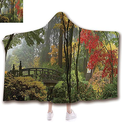 Fashion Blanket Ancient China Decorations Blanket Wearable Hooded Blanket,Unisex Swaddle Blankets for Babies Newborn by,Bridge at Portland Japanese Garden Oregon in Autumn ,Adult Style Children Style