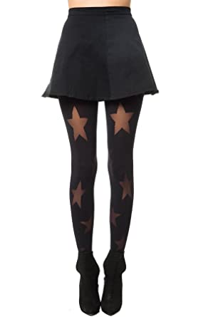 dd77a42bec4 House of Holland Women s House Of Holland Reverse Star Tight One Size Black  at Amazon Women s Clothing store  Pretty Polly