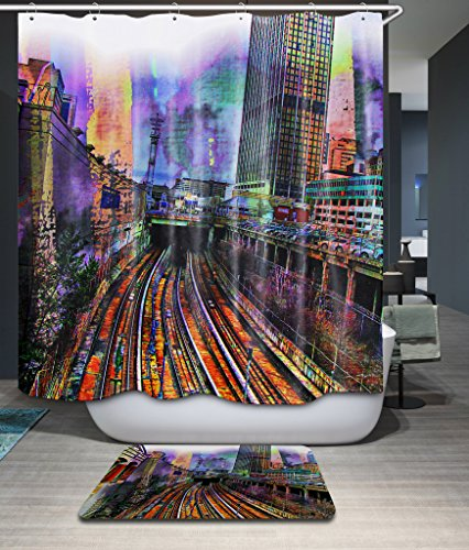 Finearts Width X Height / 72 X 80 Inches / W H 180 By 200 Cm Polyester Railway Scenery Bath Curtains Fabric Is Fit For Hotel Kids Boys Boys Family Wife. Home Fashion