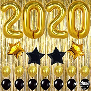 2020 Balloons Gold Decorations Banner – Graduation Decorations 2020 | Black Gold Star and Latex Ballon, Metallic Gold Fringe Curtain | Great for Graduation 2020 Decorations, New Year Eve Party Decor
