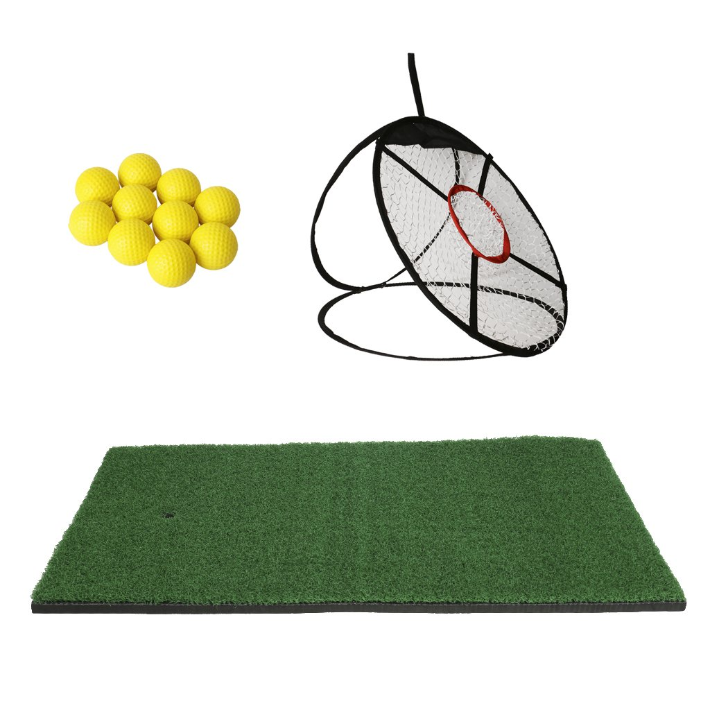 Homyl 24'' Golf Chipping Net With Hitting Mat and 10 Soft PU Foam Golf Balls, Portable Driving, Chipping, Training Aids for Backyard