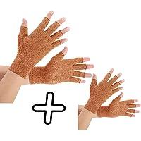Brace Master Arthritis Gloves 2 pares, guantes de compresión y calor para las manos, articulación de los dedos, alivio del dolor de la artritis reumatoide, artrosis, túnel carpiano, mujeres y hombres