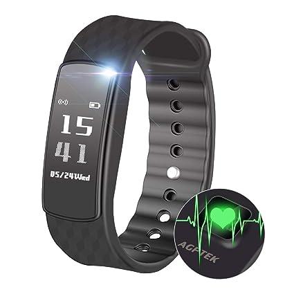 AGPtek Pulsera Inteligente Mujer W03 rastreador de Actividad con pulsómetro podómetro calorías sueño – Bluetooth 4.0 Impermeable IPX7 – Reloj ...
