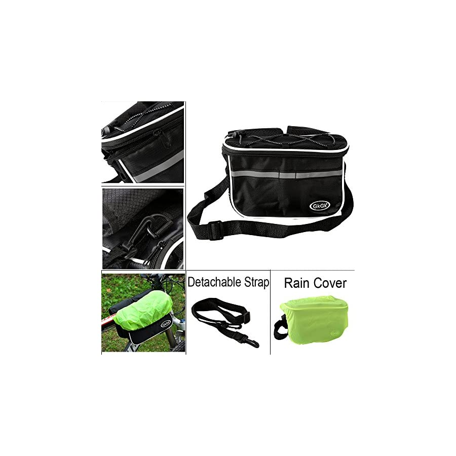 GkGk Front Top Tube Bike Bag, Multifunction Bicycle Frame Pannier Bags with Rainproof Cover for Mountain Ride,Road Cycling,Phones,Bottle of Water,Keys,Wallet(Black)