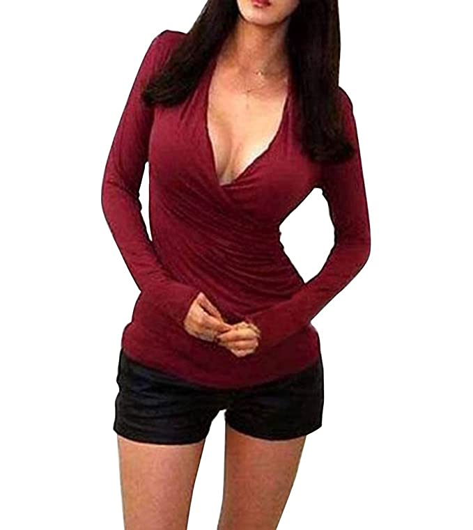 Canis Womens Criss Cross Long Sleeve V Neck Wrap Low Cut Fitted