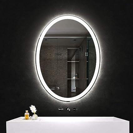 Bathroom Mirror Led Backlit Bathroom Lighting Wall Mirror Oval Frameless Warm Light White Light 70 X 90 Cm Amazon Co Uk Kitchen Home