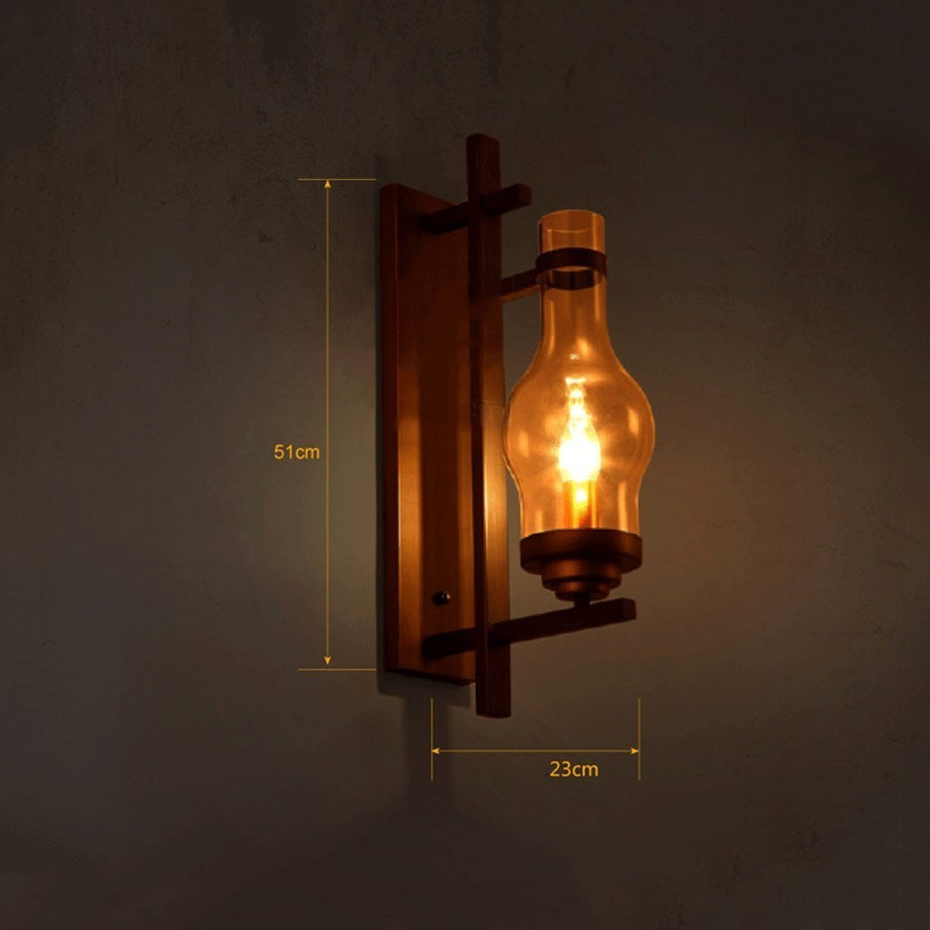 Amazon.com : MOMO American Village Wall Light Industrial Style Loft Bedroom Bedside Retro Iron Glass Wall Light : Sports & Outdoors