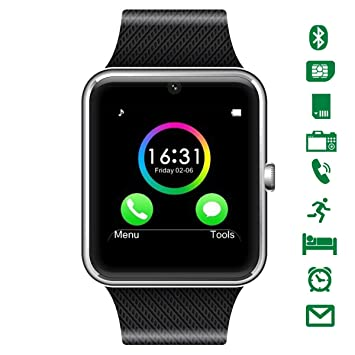 Montre Connectée,CHEREEKI Bluetooth Smartwatch avec appareil photo prend en charge SIM Card TF Card
