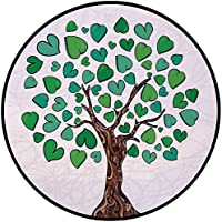 Printing Round Rug,Tree of Life,Valentines Love Tree with Heart Leaves on Curved Patterns Nature Life Decorative Mat Non-Slip Soft Entrance Mat Door Floor Rug Area Rug For Chair Living Room,Green Brow