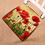 Custom Vintage Retro Poppy Flower Field Seat Cushion Chair Cushion Floor Cushion Twin Sides 20x20 inches