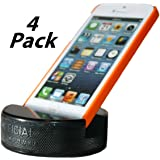 PUCKUPS - (4 Pack) Indestructible Hockey Puck Cell Phone Stand - The Best Smartphone, Iphone, Samsung Galaxy, HTC, Ipod, Ipod Touch, Mp3 Player, Phone Stand Made From A Genuine Hockey Puck.