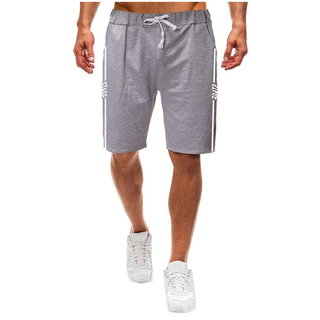 MOUTEN Mens Drawstring Athletic Straight Striped Basic Elastic Waist Shorts