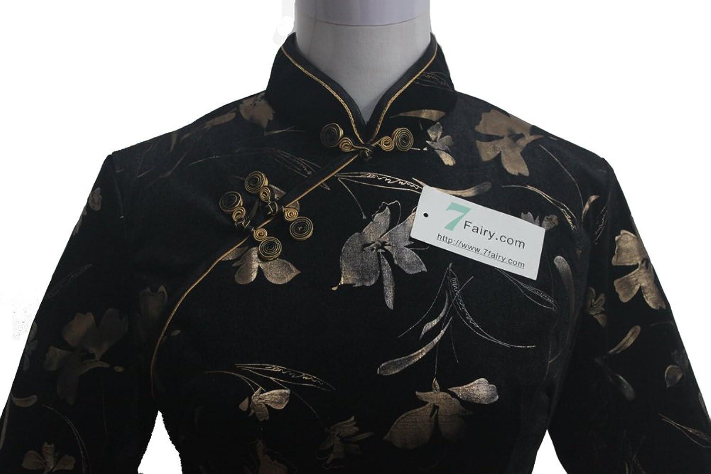 7Fairy Women's Black Chinese Floral Printed Quality Velvet Long Dress