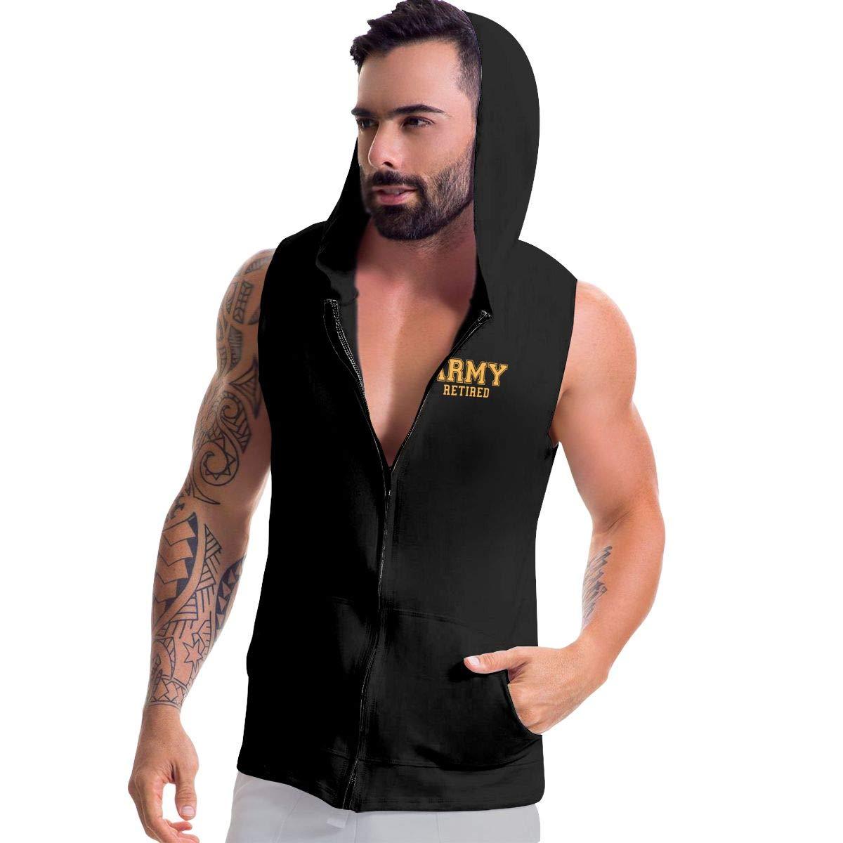 BB/&YYY Army Retired Mens Sleeveless Full Zip Fleece Hoodie Bodybuilding Jacket