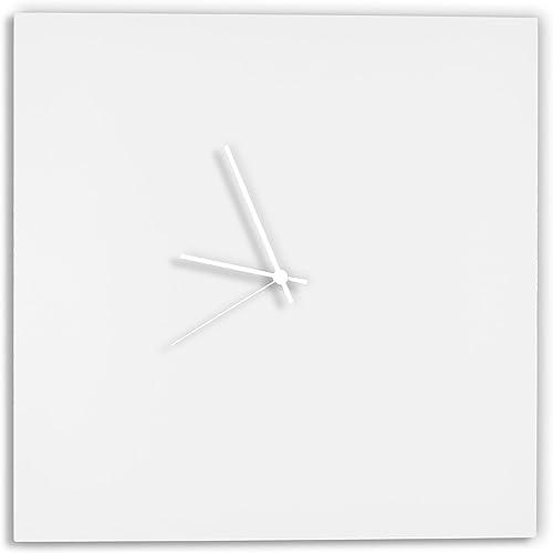 Modern White Clock 'Whiteout White Square Clock' Minimalist Metal Wall Clock