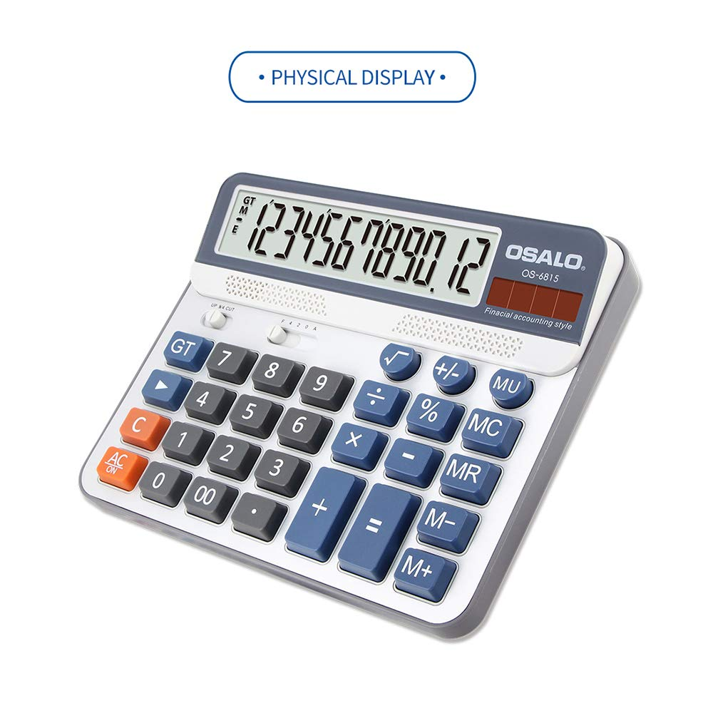 Aibecy Electric Calculator Desktop Counter Solar & Battery Power ABS 12-Digit LCD Display Source for Home Office School -OSALO OS-6815 by Aibecy (Image #3)