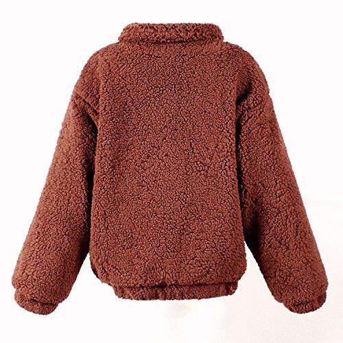 Manteaux Femme Rue Caf Style Casual Peluche Mode Manteau Couleur Zipper De Hiver Chaud Unie Veste Blouson waXwUp