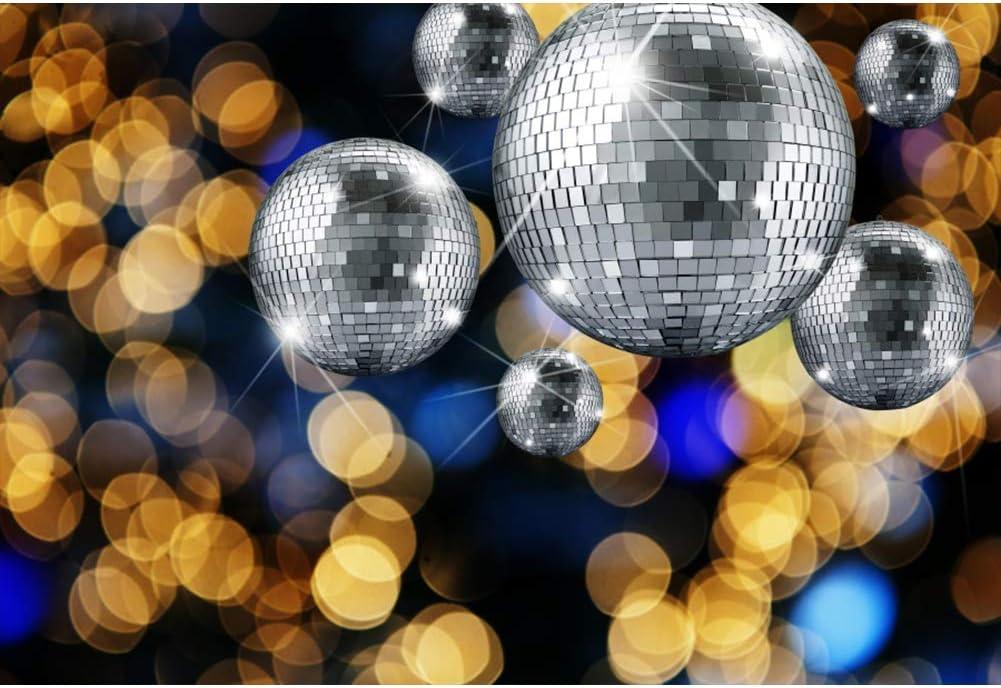 Renaiss 9x6ft Vinyl Disco Party Theme Photography Backdrop Silver Disco Ball Golden Virtual Focus Bokeh Background for 70s 80s 90s Family Adults Disco Theme Prom Party Decor Photobooth Props