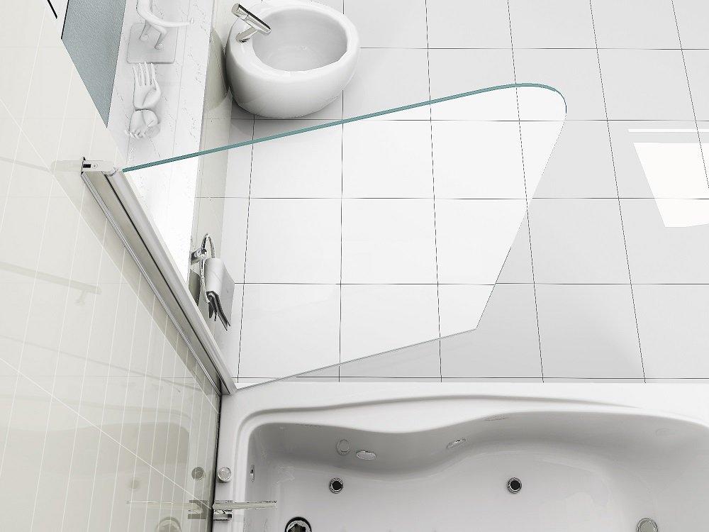 HNNHOME New Design 180° Pivot Radius 6 mm Glass Over Bath Shower Screen Door Panel