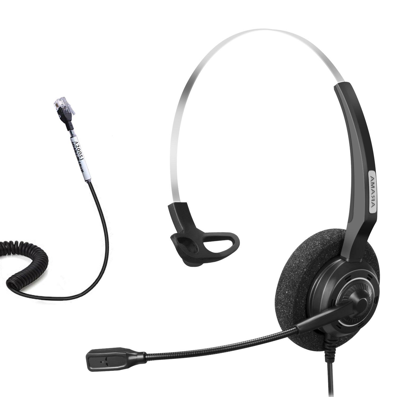 Arama Telephone Headset Mono w/Noise Canceling Mic for Polycom Aastra Adtran Alcatel Lucent Allworx AltiGen AVAYA Comdial Digium Gigaset InterTel Mitel MiVoice Plantronics Landline Deskphones