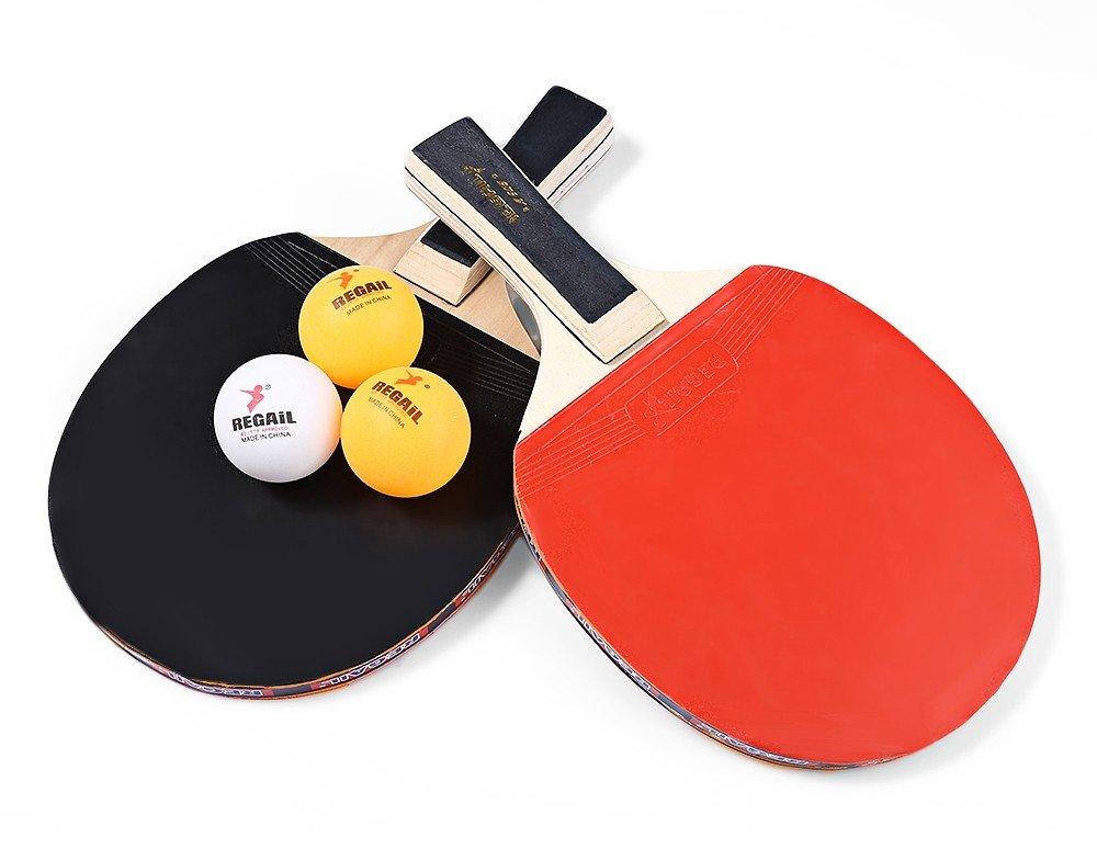テーブルテニスセット( 1 x Paddles、3 xボール) -softスポンジrubber-2または4 Players – Perfect Set on the Go  ブラック B075YTQJ6Z