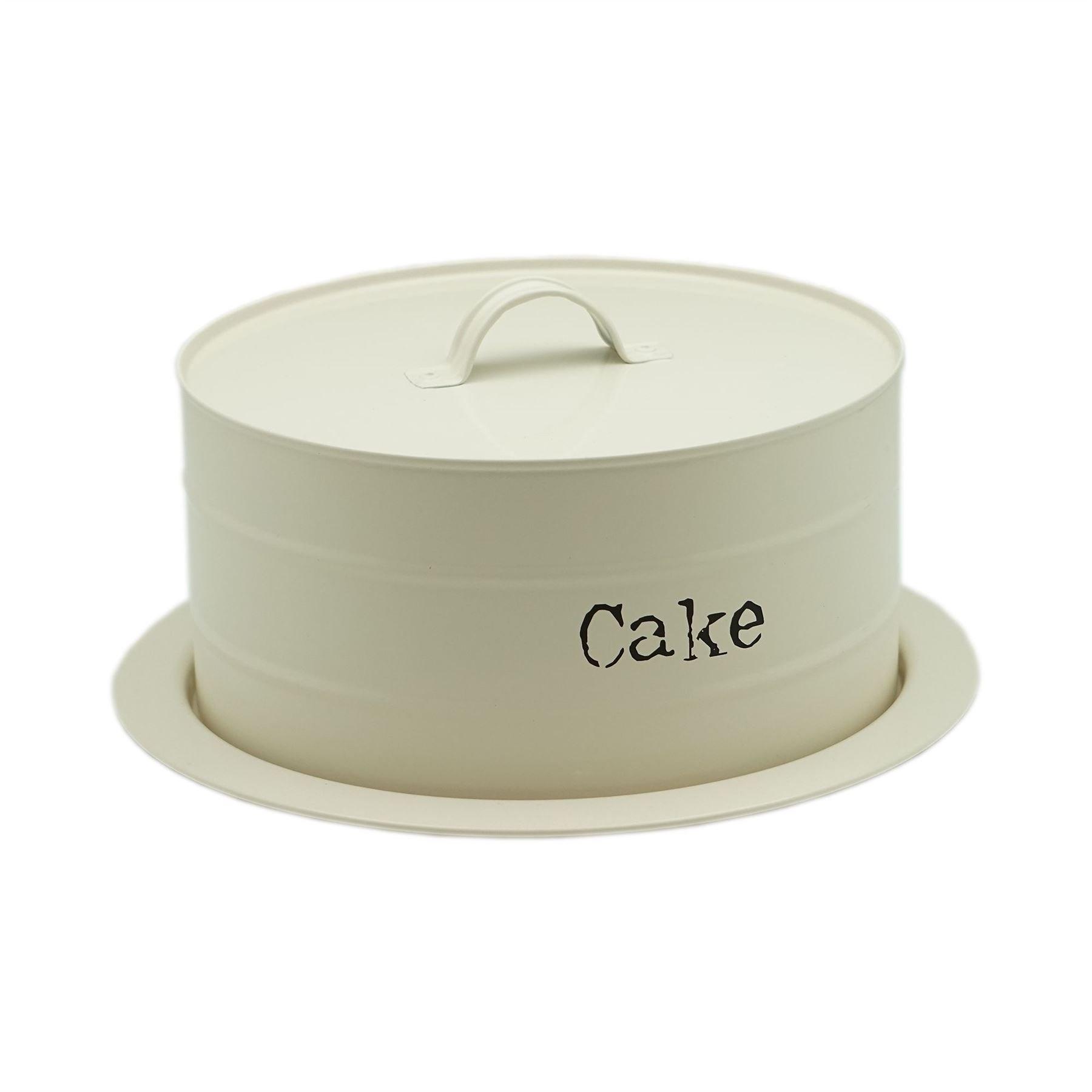 Metal Airtight Cake Storage Tin / Cake Dome -270x115mm - Cream