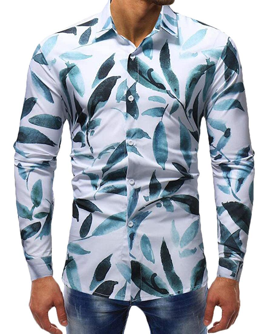 Hurrg Mens Slim Fit Long Sleeve Button Down Casual Leaf Printed Dress Shirt