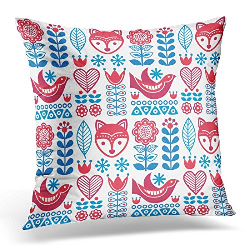 SPXUBZ Red Cute Scandinavian Folk Pattern Finnish Design Nordic Style Blue Floral Nature Decorative Home Decor Square Indoor/Outdoor Pillowcase Size: 20x20 Inch(Two Sides) -