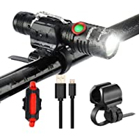 Uelfbaby 1000 Lumen Bike Light USB Rechargeable Stepless dimming Taillight Included Firm Mount Cycle Torch Easy Install Fits All Bikes Mountain Hybrid Road MTB