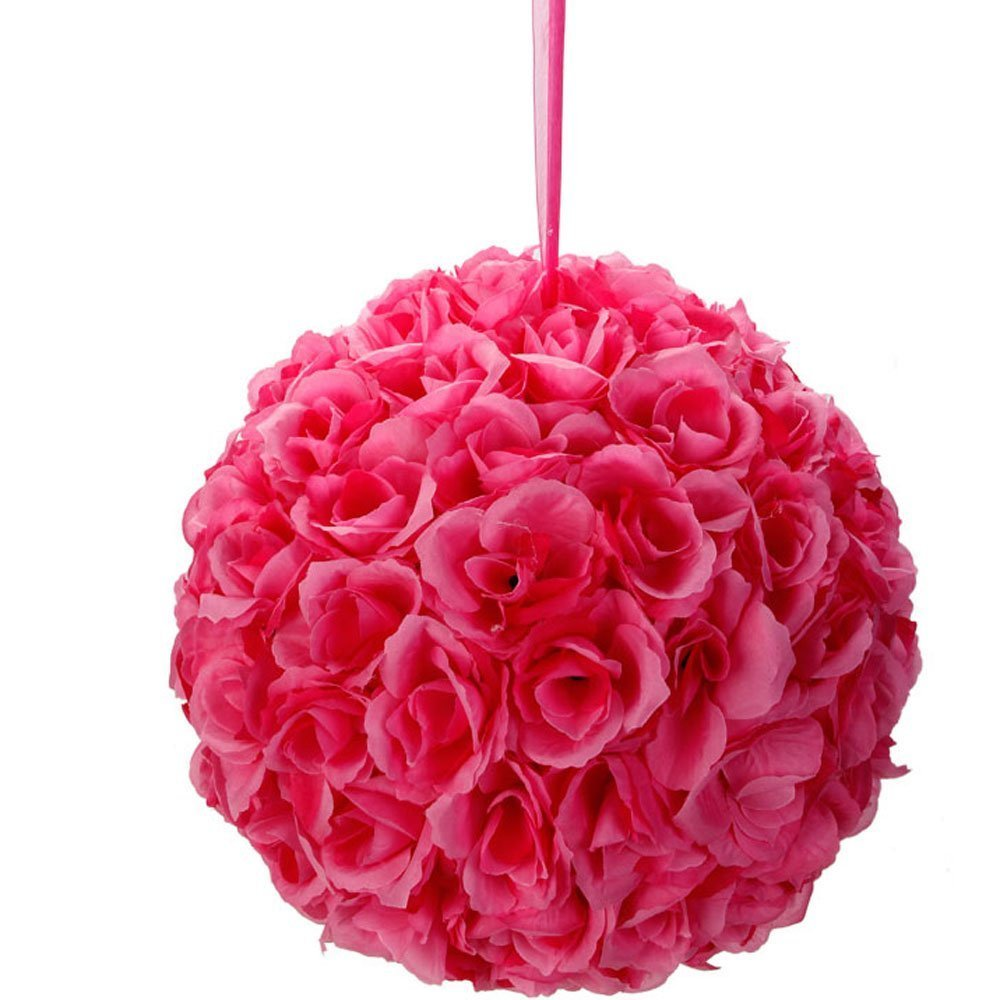 Leadzm 10 Inch Artificial Romantic Rose Flower Ball for Home Outdoor Wedding Party Centerpieces Decorations (10PIECE, Dark Pink) by LEADZM