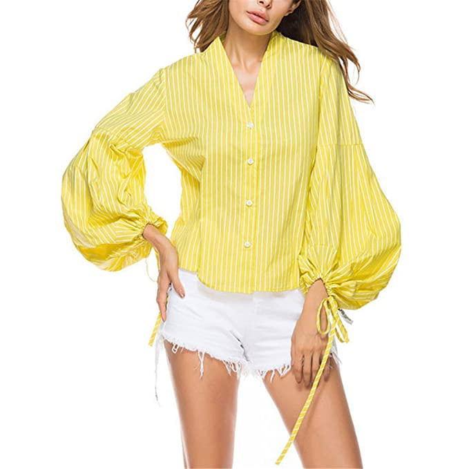 Camisa de Botón de Algodón a Rayas Amarillas Top Blusas de Mujer Moda Casual Ladies V