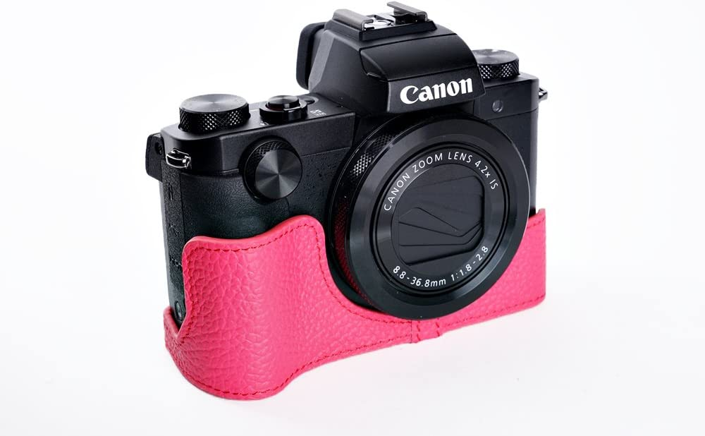 Handmade Genuine Camera Half Leather Case Bag Cover for CANON PowerShot G5 X G5X Rosered