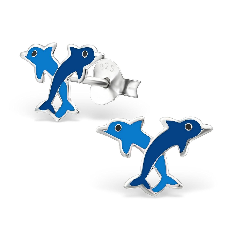 Laimons M/ädchen Kinder-Ohrstecker Kinderschmuck Delphin Paar Blau Sterling Silber 925