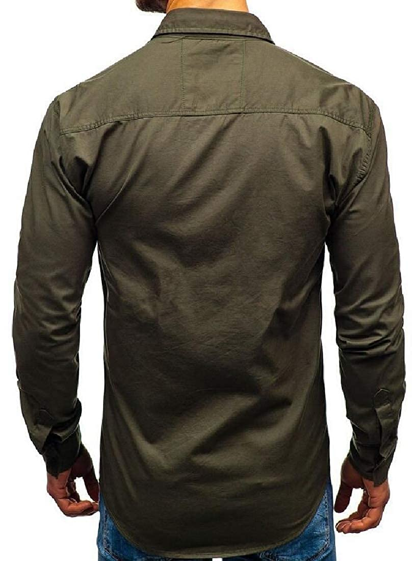 Cromoncent Mens Regular Fit Slim Work Cargo Long-Sleeve Shirt with Pockets
