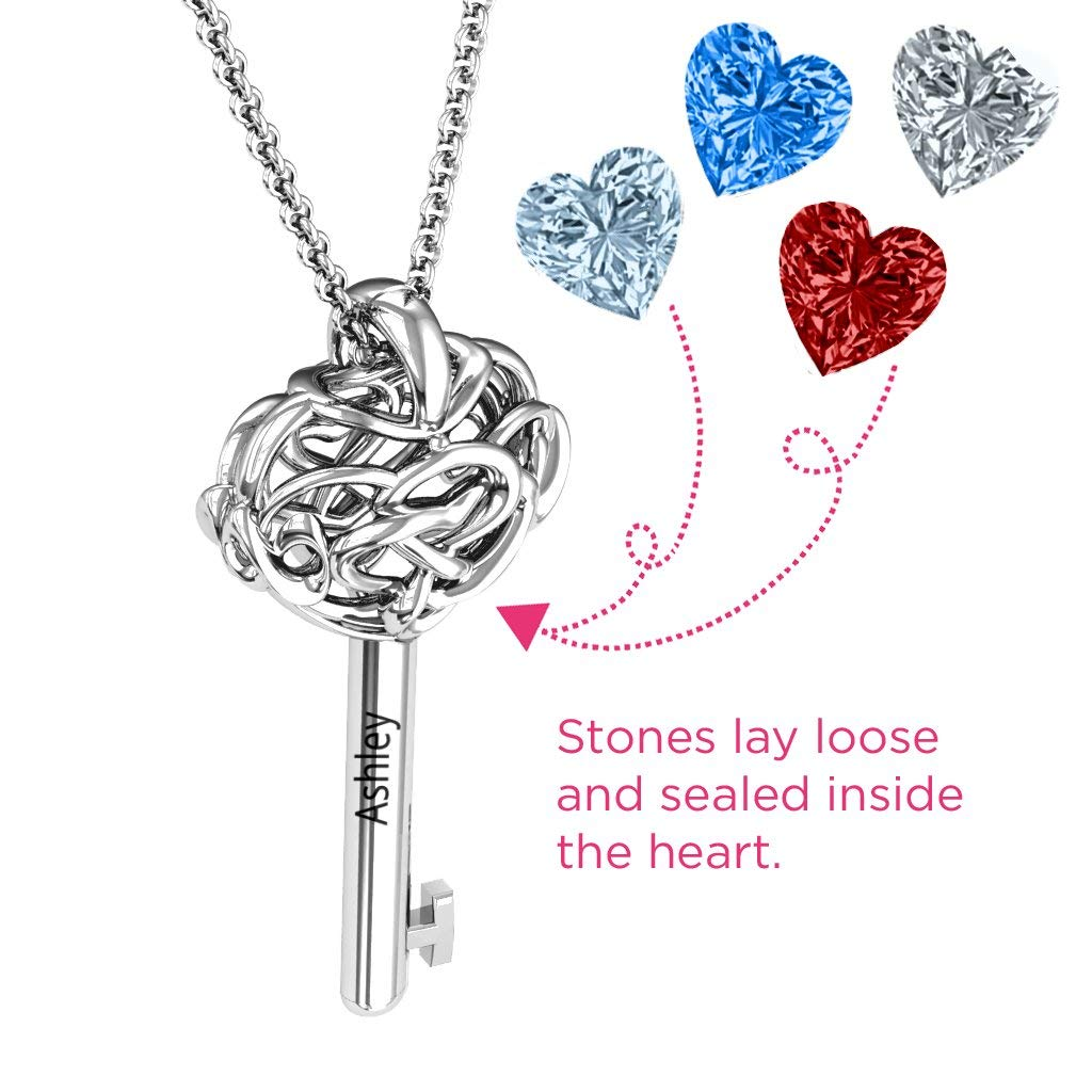Sterling Silver Infinitely in Love Caged Key Pendant with Personalized Birthstones by JEWLR