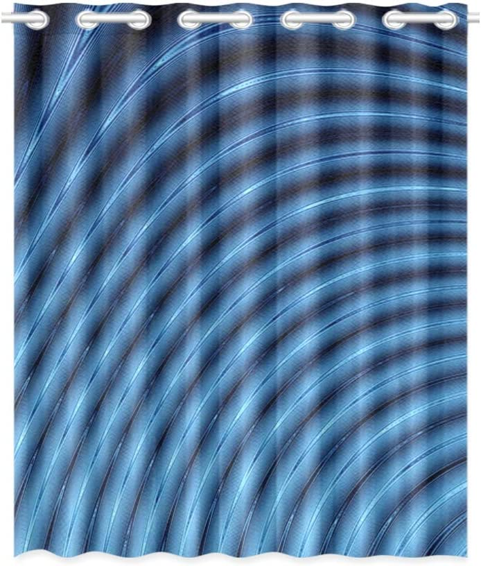 VNASKL Bedroom Curtains Panel Abstract 3D Blue Lines Blender Long Window Curtains 52x63 Inch (132x160cm) 1 Panel Blackout Grommet Curtain for Bedroom Living Room