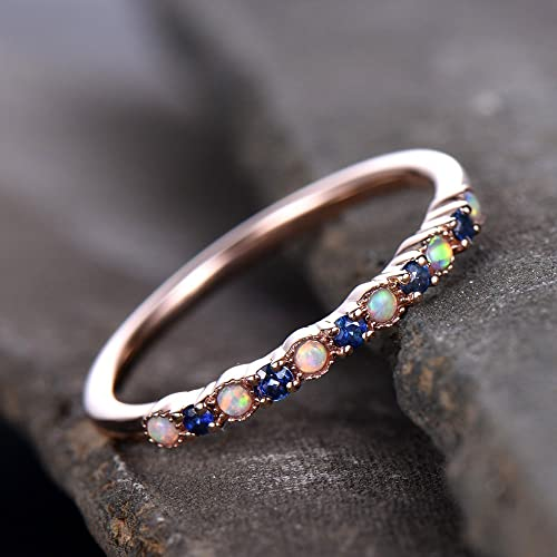 Opal Wedding Band.Amazon Com Opal Wedding Ring Sapphire Wedding Band Half Eternity