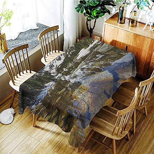 (XXANS Outdoor Tablecloth Rectangular,Landscape,Dream Mirroring Lake at The Mountain Park in West America River Snow Print,Dinner Picnic Table Cloth Home Decoration,W54x72L Green Brown)