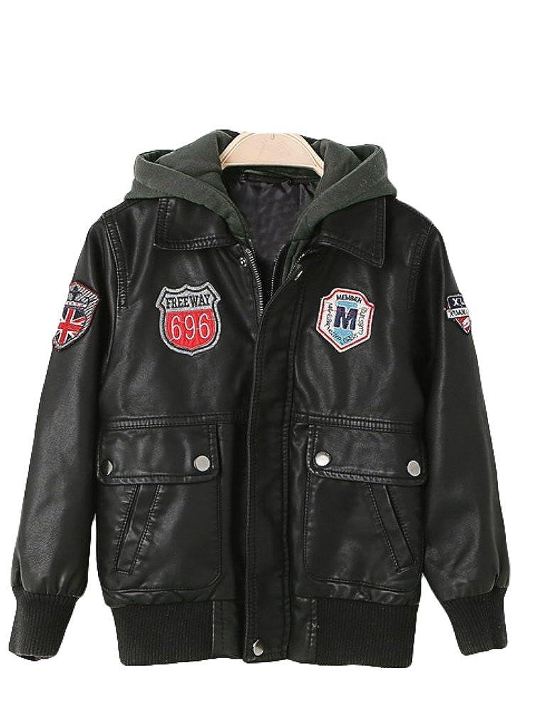 Mallimoda Boy's Patch PU Faux Leather Moto Biker Jacket with Hood CA-MaXT067