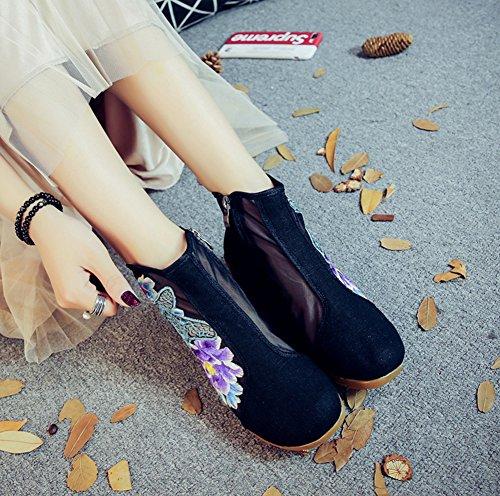 Avacostume Femmes Évider Papillon Broderie Organza Lin Sandale Sandale Chaussures Noir