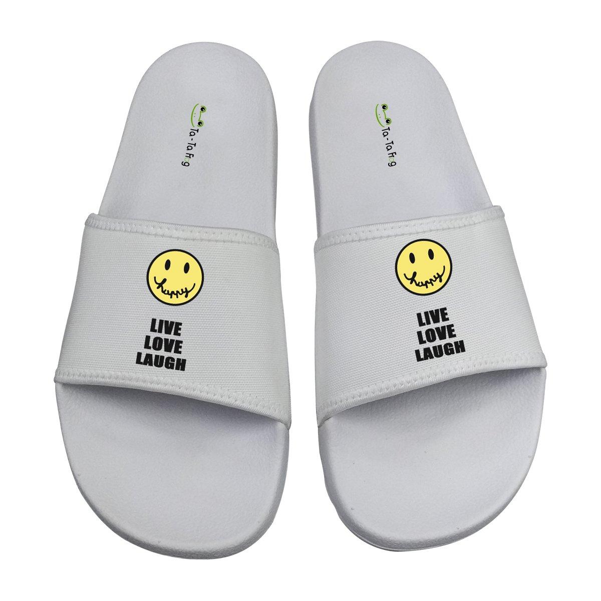 TA-TA FROG Live Love Laugh Cute Emoji Sandals Indoor & Outdoor Slippers 9 D(M) US
