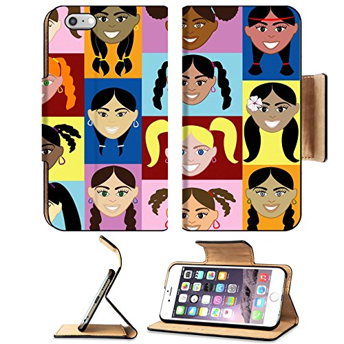 Liili Premium Apple iPhone 6 Plus iPhone 6S Plus Flip Pu Leather Wallet Case IMAGE ID: 5500484 Girls Faces 2 14 diverse girls faces Also available in children boys girls - Faces Male Asian