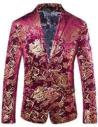 5433bd62bea9 Men s Luxury Casual Dress Floral Suit Notched Lapel Slim Fit Stylish Blazer  Jacket Party Coats