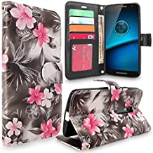 Droid Maxx 2 Case, Moto X Play Case, Cellularvilla [Stand Feature] [Card Slots] Premium Pu Leather Flip Wallet Case Cover For Motorola Droid Maxx 2 XT1565 / Moto X PLAY XT1562 (Black Pink Flower)