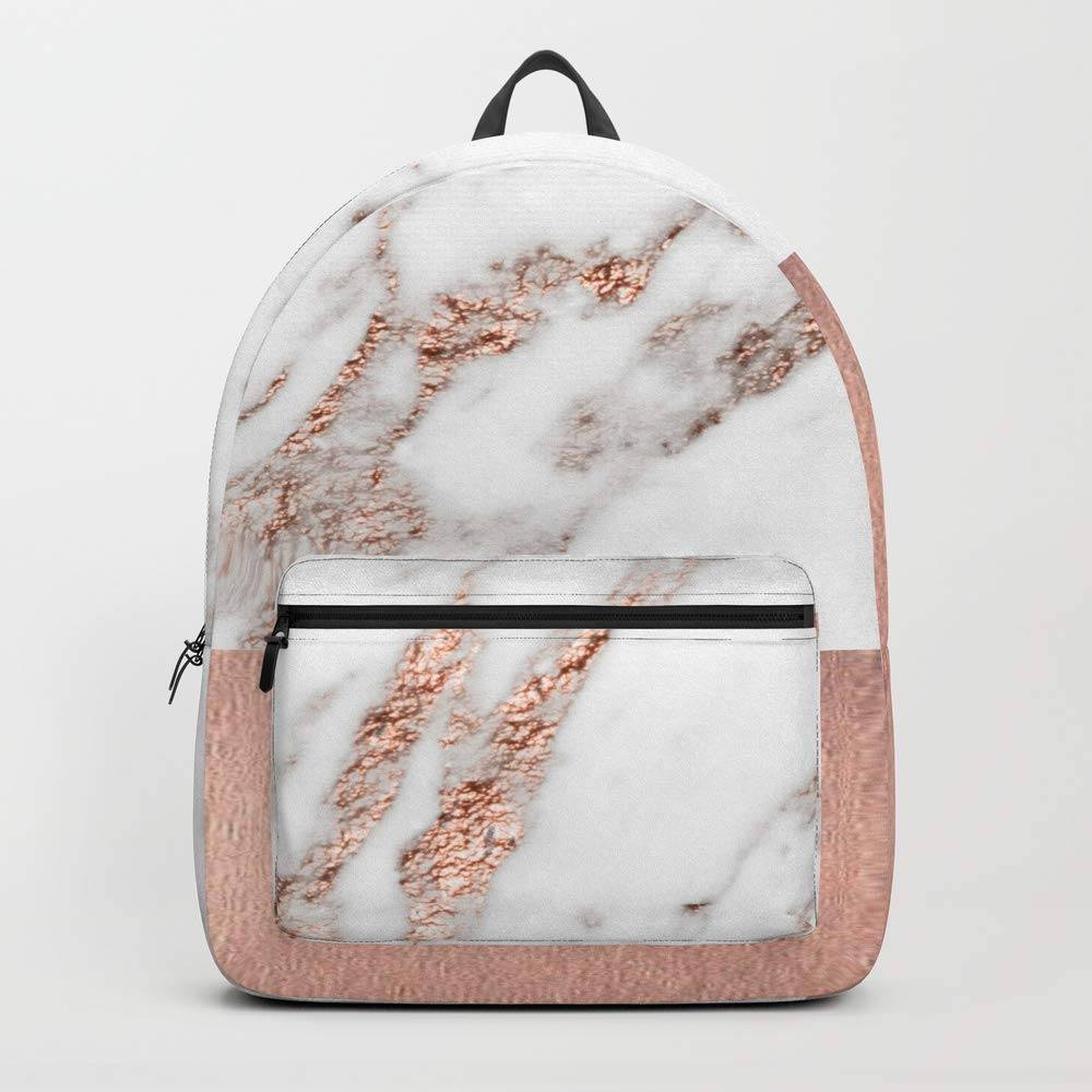 Society6 Backpack, Rose Gold Marble and foil by marbleco, Standard Size
