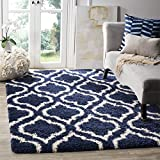Safavieh Hudson Shag Collection SGH284C Navy and Ivory Moroccan Geometric Area Rug (5'1'' x 7'6'')